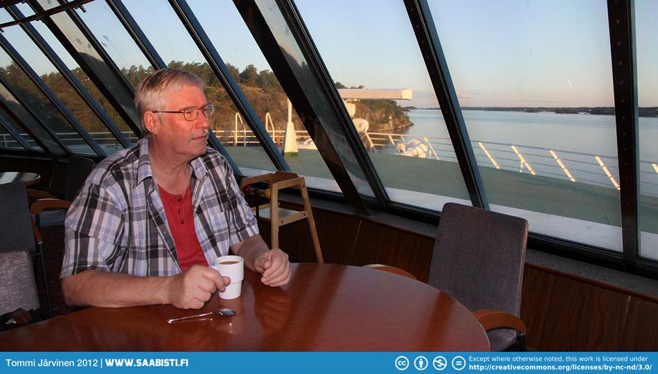 Having breakfast on the ship. Stockholm getting nearer.