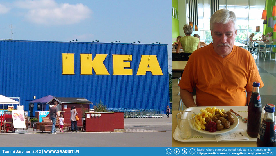 "Dad was getting hungry and wanted some ""real food"". Off to Ikea Hamburg for some Swedish meatballs... :D"