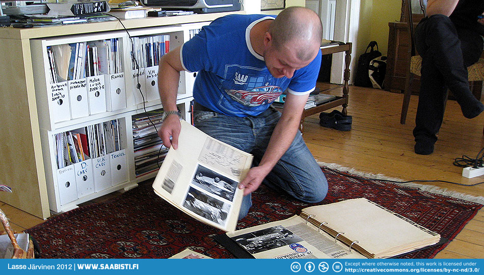 Tikkis organizing the Simo Lampinen archives for photography.
