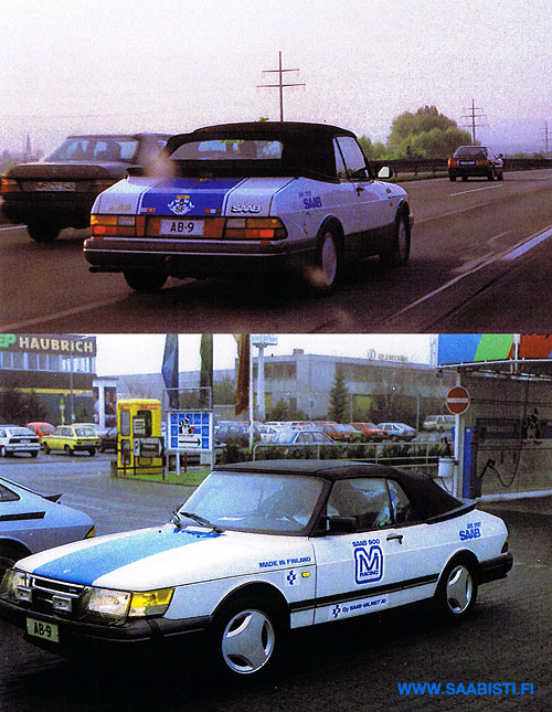 Rafu somewhere in Germany in the 1980's, driving his blue&white Saab 900 Cabriolet (photo by permission from the archive of Wolfgang Messer)