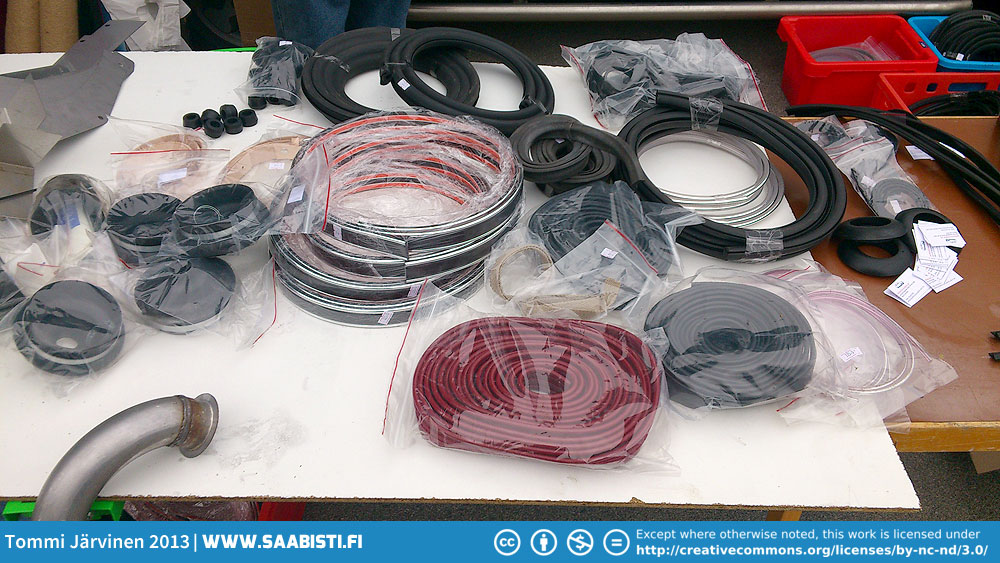 Saab 96 repro rubber parts. Pretty much all of this stuff was extremely hard to find a few years back. It's very nice to see that they are being reproduced and available again.