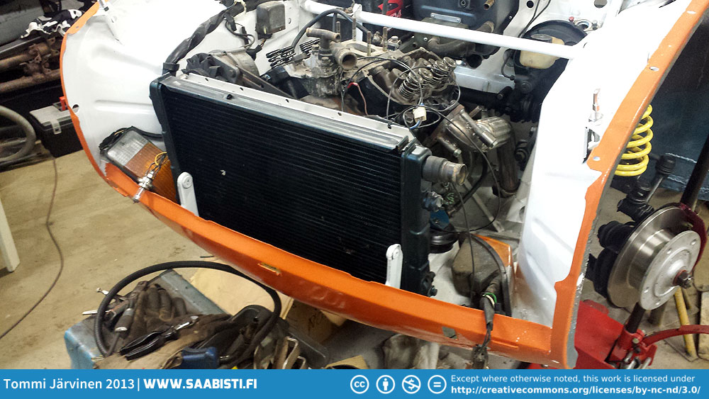 Saab 99 radiator. The core supports need to be removed.