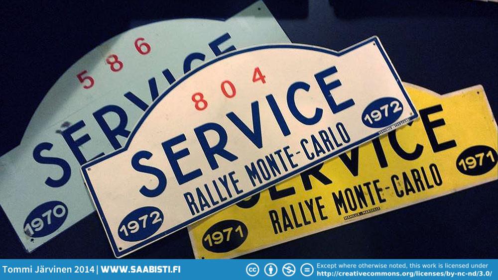 Some Monte-Carlo Rallye service car plackards.