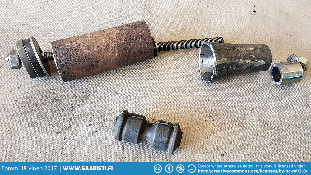 To make installing the big bushings on the rear axle easier we used this tool and plenty of liquid soap.